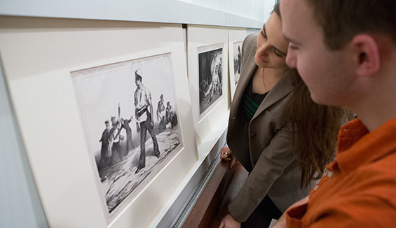 Students view art at the museum