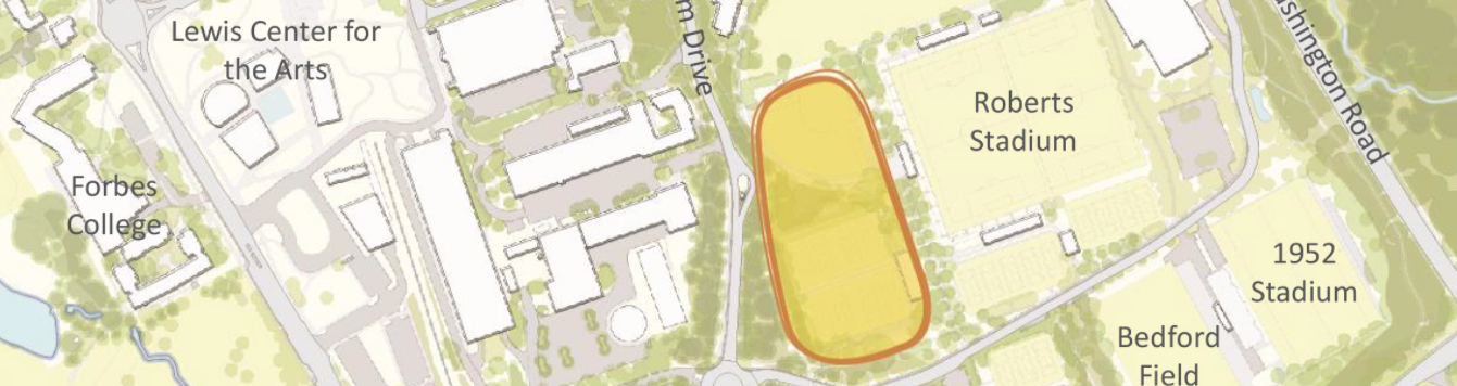 Campus map showing proposed site